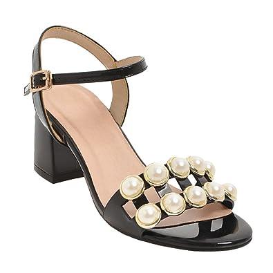 Damen chunky heels open toe Schnalle Sandalen (34, Schwarz) Mee Shoes