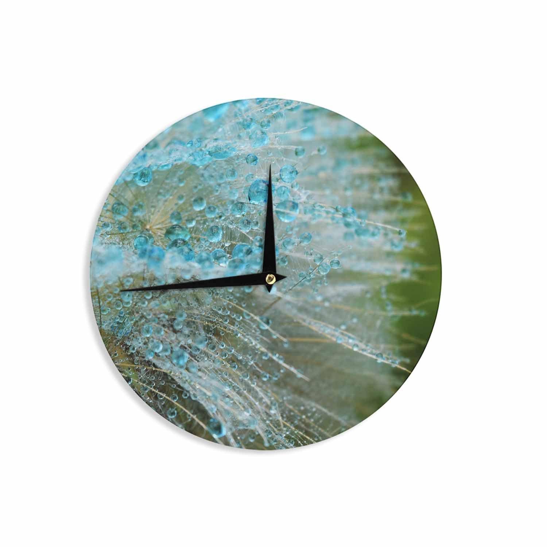 Kess InHouse Ginkelmier Blue Rain Dandelion Green Photography 12 Wall Clock