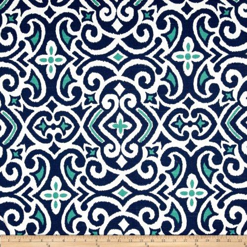 Dwellstudio Squares - Robert Allen Dwell Studio New Damask Fabric, Marine