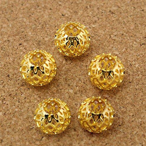 (FunnyPicker Approx 6Pcs/Lot Golden Oval Shape Large Hole Mesh Net Metal Spacer Beads Fit European Bracelet 910Mm 6 pieces/lot)