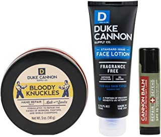 product image for Duke Cannon Supply Co. - Mens Winter Defense Kit (3 Piece Set) Includes Bloody Knuckles Hand Repair Balm, Cannon Balm Lip Protectant, and Standard Issue Face Lotion