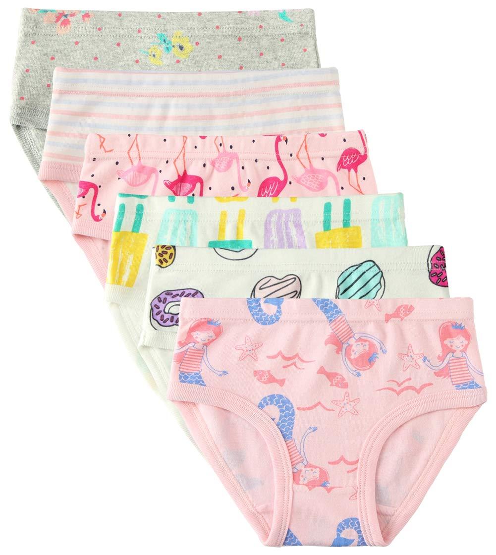 6 Pack Little Girl Underwear Cotton Fit Age 1-7, Baby Girls Panties Toddler Girl's Undies (Donut, 4-5 Years/Waist 17.3'',Height 42''-45'')