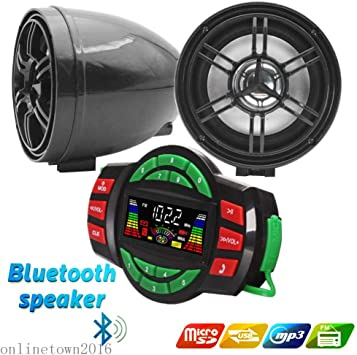 Black 12V Motorcycle Waterproof FM USB 4 Channel 3 Inch UTV ATV Bluetooth Amplifier Sound System Audio Stereo Hand-Free Speakers Audio for iPhone//iPod//MP3