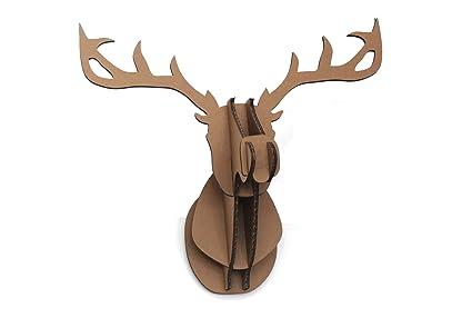Sunshinewhite DIY 3D Cardboard Deer Head Wall Mount Model Large Brown