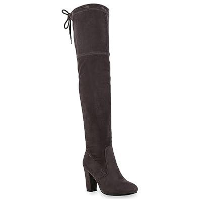 Stiefelparadies Damen Stiefel Overknees Wildleder-Optik Blockabsatz  Langschaftstiefel Boots Schleifen Schuhe 121546 Grau 36 Flandell