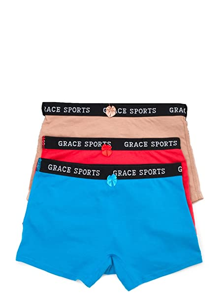 Women s Cotton Sports Boy Shorts Panties (3 Pack) S to Xxxl (Small) 640498a2b07