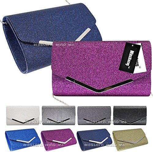 Party Bridal Black White Clutch Bag Wocharm Prom Silver Fashion Black Handbag Evening Sparkly Womens nw6n1HqT