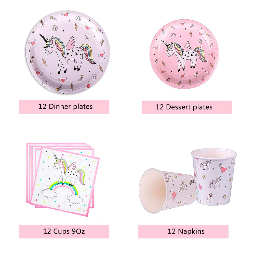Plates Cups Pink and Purple Latex Balloons With Happy Birthday Bunting Ltd. Napkins Unicorn Party Supplies 112pcs Unicorn Party Supplies /& Tableware Kit EZESO ESSENTIAL SKINCARE Co Straws Decorations