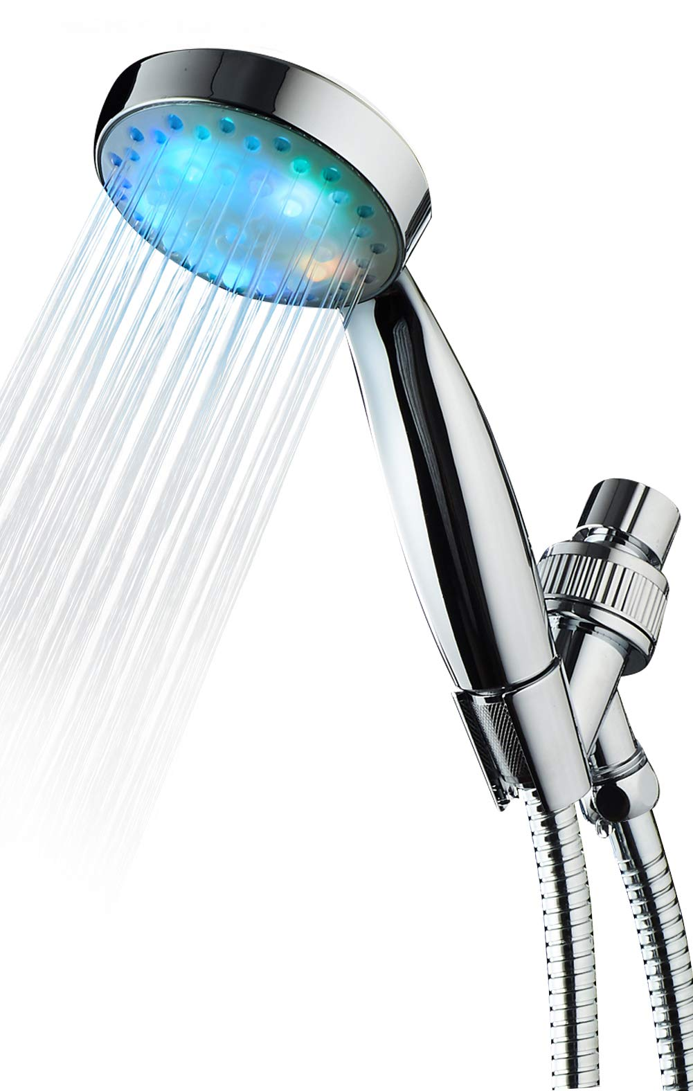 KAIREY High Pressure Led Handheld Shower Head 7 Color Glow Light Change Automatically Polished Chrome with 60 Inches Stainless Steel Hose and Adjustable Bracket