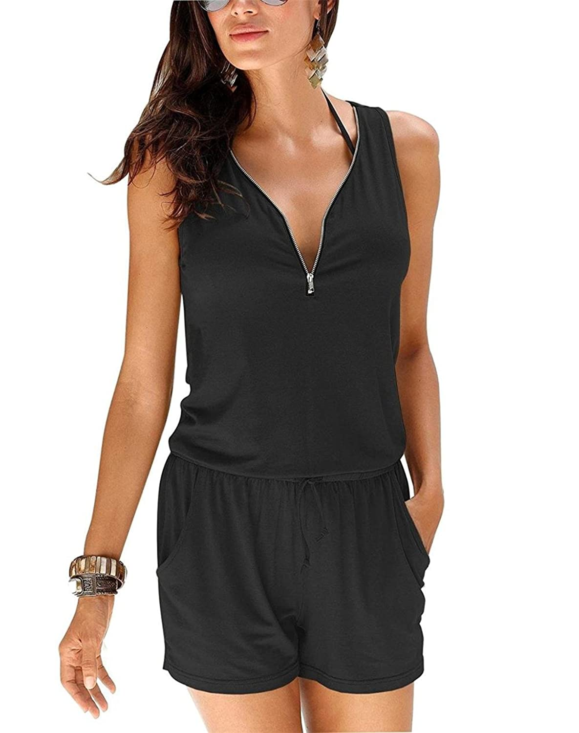 DBFACT Sexy Women Sleeveless Zipper V Neck Pocket Casual Jumpsuit Rompers Playsuit
