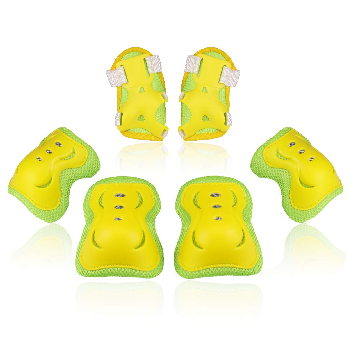 BOSONER Kids/Youth Knee Pad Elbow Pads Guards Protective Gear Set for Rollerblade Roller Skates Cycling BMX Bike Skateboard Inline Skatings Scooter Riding Sports (Yellow, Medium(9-15 Years)) by BOSONER