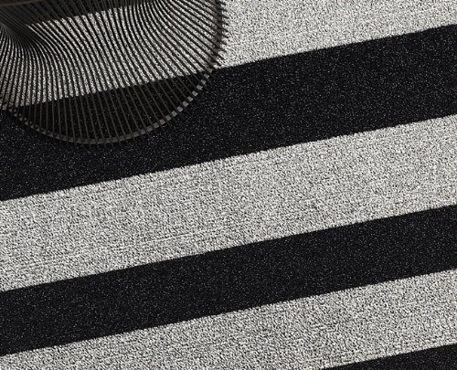 Chilewich Shag Indoor/Outdoor Floor Mat Black and White 36'' X 60''