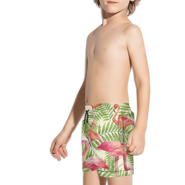 Boys Quick Dry Swim Trunks Tropical Leaf Flamingo Beach Board Shorts