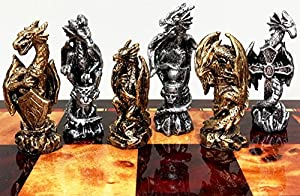 Dragon Fantasy Pewter Metal Chess Men Set Antique Gold and Silver Finish - NO BOARD