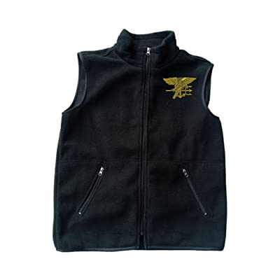 Navy Seal Logo Black Fleece Zipped Vest with Pocket