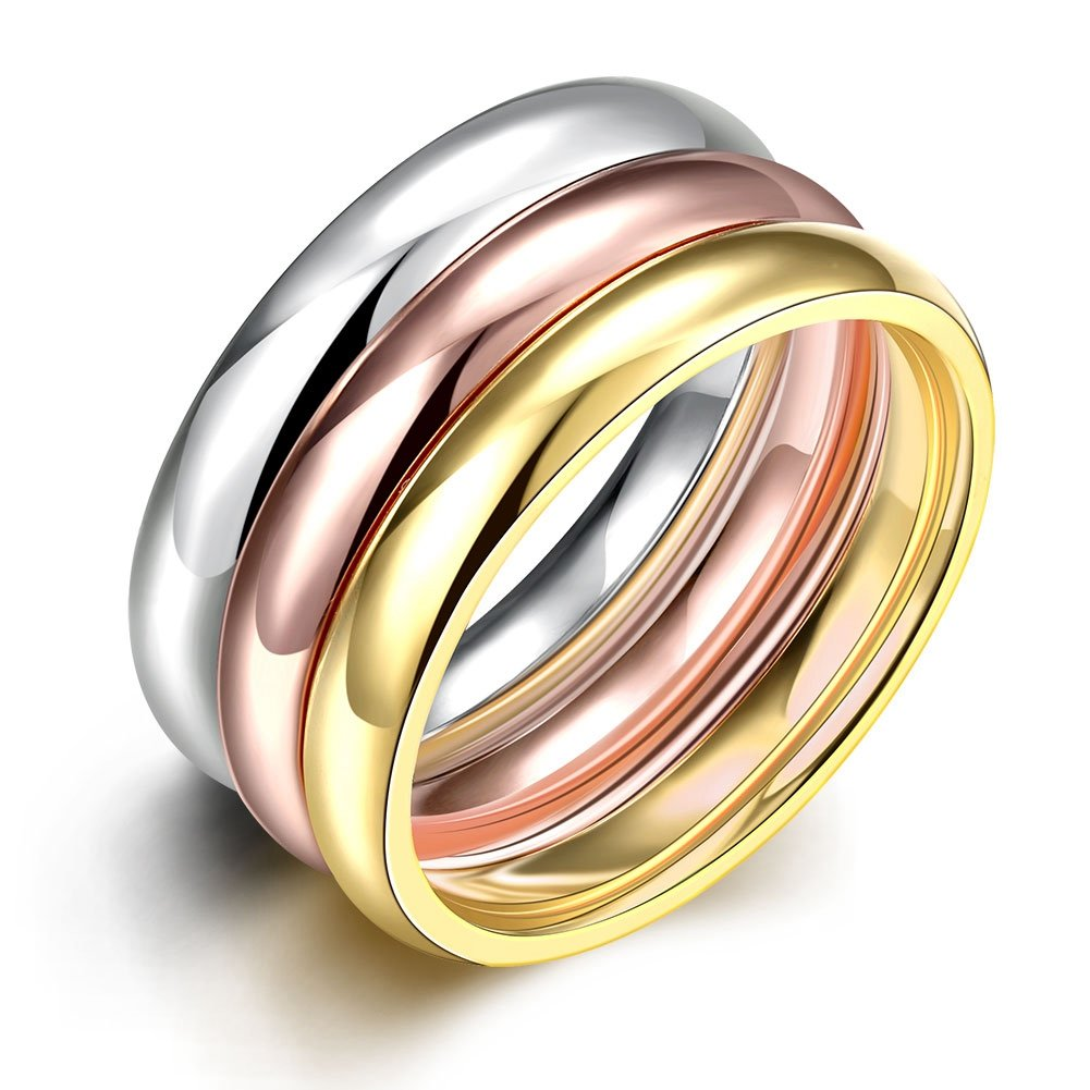 PMTIER Women's Stainless Steel (Silver, Gold, Rose)3 Color Glossy Stacking Ring Set 66caZYPT024