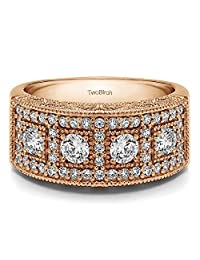14k Rose Gold Lady Ring Charles Colvard Created Moissanite(0.84Ct)Size 3 To 15 in 1/4 Size Intervals