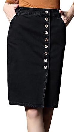 5fffb3c8afd650 Youhan Women's Elastic Split High Waist Package Hip Midi Denim Skirt (X- Small,
