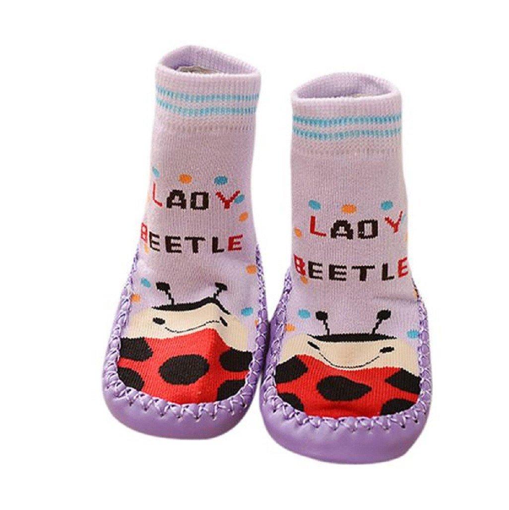Vovotrade® Baby Girls Kids Cute Cartoon Toddler Anti-slip Sock Shoes Boots Slipper Socks Age 0-6 18 24 months Purple (0-6 months) BK-12