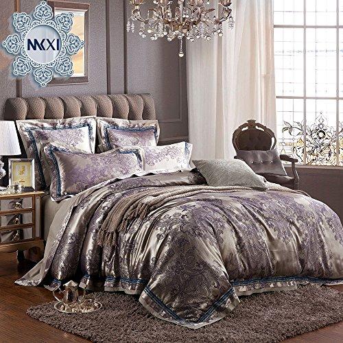 MKXI Sateen Cotton Bedding European Luxury Paisley Jacquard Duvet Cover Set King Size,3 Pieces (King Size Satin Comforter Set)