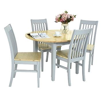 Fonder Ausziehbarer Runder Tisch Und 4 Stühlen Set Küche Tisch Mit Center  Erweiterung (90u2013