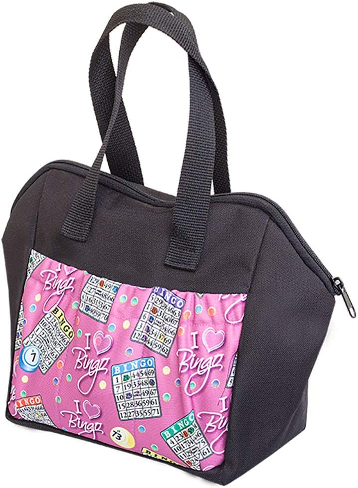 ABS Novelties I Love Bingo Pink Pattern 6 Pocket Tote