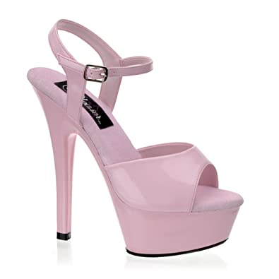 Summitfashions 6 Inch High heel Shoes Sexy Platform Sandals Ankle Strap  Pink Leather Shoes Size