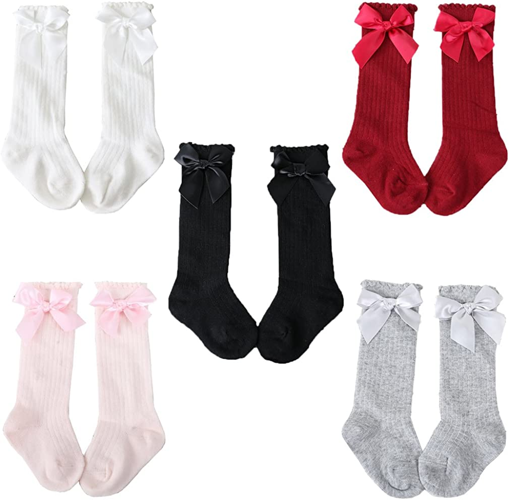 Z-Chen Pack de 5 Pares Calcetines altos de bebé niña con lazo, 0-4 Años
