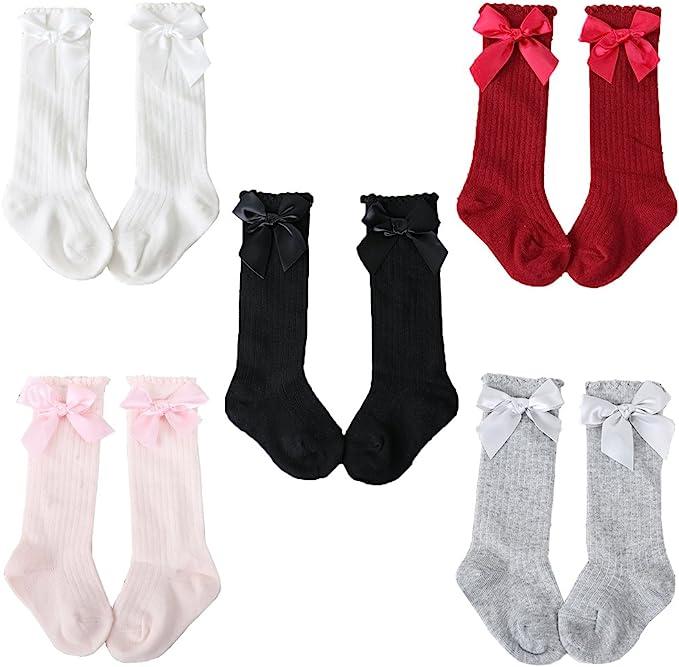 Z-Chen Pack de 5 Pares Calcetines altos de bebé niña con lazo, 0-4 Años: Amazon.es: Ropa y accesorios