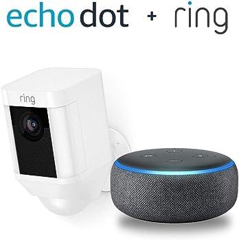 Ring Spotlight Cam Wireless Security Camera  + Echo Dot (3rd Gen)