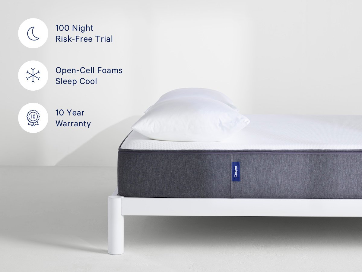 Casper Sleep Mattress – Supportive, Breathable and Unique Memory Foam – Scientifically Engineered for your Best Sleep - 10 Year Warranty - 100 Day Free Return - Bed in a Box