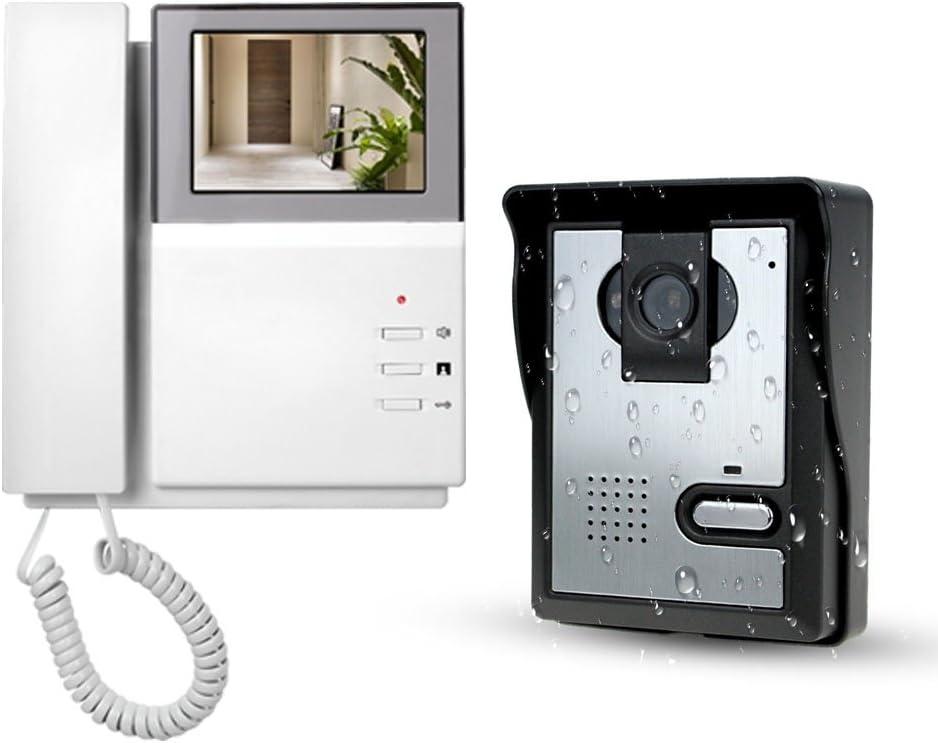 LIBO Sistema de Videoportero 4.3inch Monitor LCD Kits de Timbre de Video Intercomunicador, Vision Nocturna Cámara Intercomunicador de la Puerta Para uso en el Hogar
