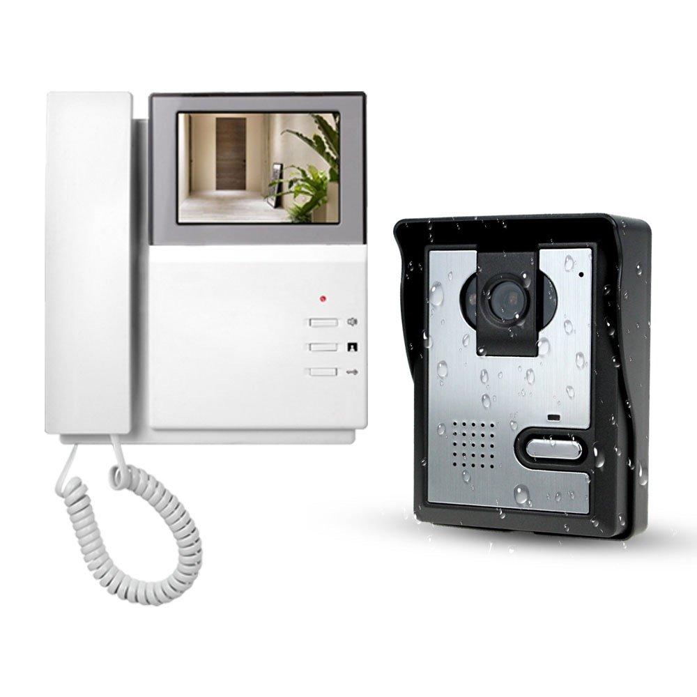 LIBO Sistema de Videoportero 4.3inch Monitor LCD Kits de Timbre de Video Intercomunicador, Vision Nocturna Cá mara Intercomunicador de la Puerta Para uso en el Hogar Vision Nocturna Cámara Intercomunicador de la Puerta Para uso en el Hogar V43E156+L