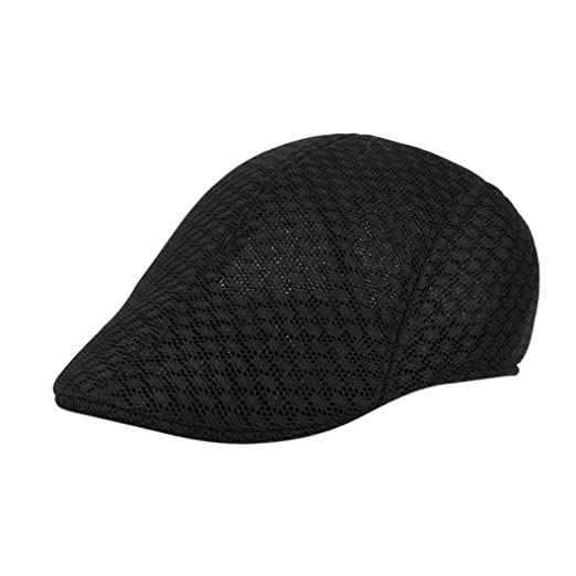 4a8a78447f8 Vertily Hat Breathable Mesh Gangster Newsboy Classic Unisex Peaked Beret Cap  (Black)
