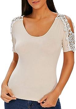 Logobeing Blusa Blanca Mujer, Camisas Mujeres Casual Encaje O ...