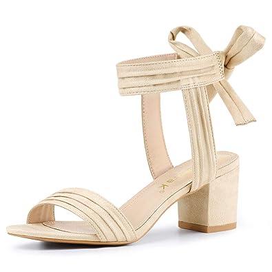 9e4c0b14f07 Allegra K Women s Open Toe Ankle Tie Back Red Block Heel Sandals - 5 ...
