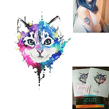8125602db Animals Temporary Tattoos-Premium Watercolor Kitten Cats Tattoos Paper(1  Pcs/2 Sheets