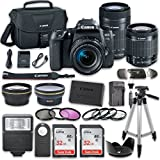 Canon EOS 77D DSLR Camera Bundle with Canon EF-S 18-55mm f/4-5.6 IS STM Lens + Canon EF-S 55-250mm f/4-5.6 IS STM Lens + 2pc SanDisk 32GB Memory Cards + Accessory Kit