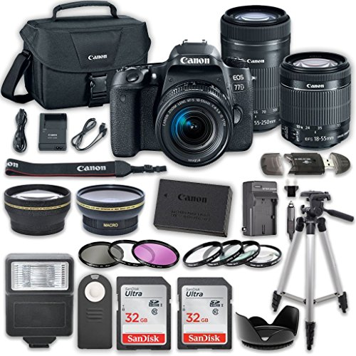 Canon EOS 77D DSLR Camera Bundle with Canon EF-S 18-55mm f/4-5.6 IS STM Lens + Canon EF-S 55-250mm f/4-5.6 IS STM Lens + 2pc SanDisk 32GB Memory Cards + Accessory (Canon Af Extension Tube)