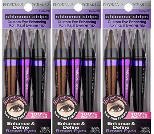 Physicians Formula Shimmer Strips Custom Eye Enhancing Intense Kohl Kajal Eyeliner Trio, Brown
