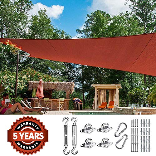 Quictent 26 X 20 ft 185G HDPE Rectangle Sun Shade Sail Canopy 98 UV Block Outdoor Patio Garden with Free Hardware Kit Terracotta