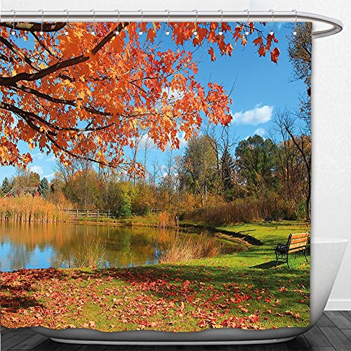 Beshowere Shower Curtain Landscape Autumn Scenery in Michigan USA Scenic View with Trees Pond and Clear Sky Orange Blue - In Michigan Macys