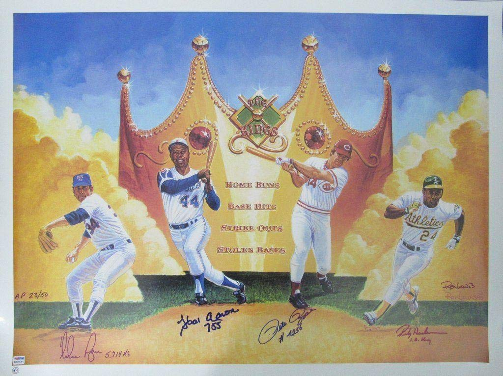 Baseball Kings AARON RYAN ROSE HENDERSON Signed 27x36 Lithograph 141070 PSA/DNA Certified Autographed MLB Art