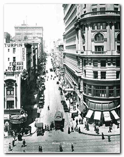 Vintage San Francisco Powell Street 1907 Old City Black And White Wall Decor Art Print Poster - Francisco Powell San