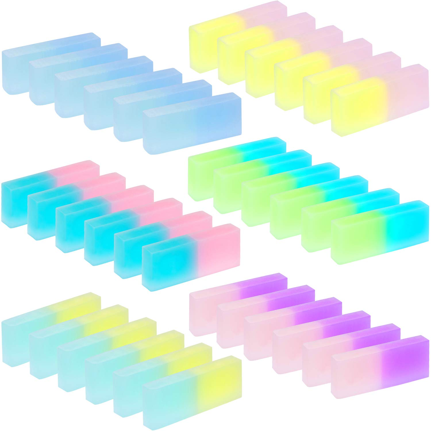 Leinuosen 18 Pieces Cute Jelly Colored Pencil Rubber Erasers for School Student Kids