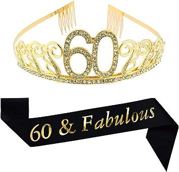 Amazon.com: Tiara de oro de 60 cumpleaños y salchicha con ...