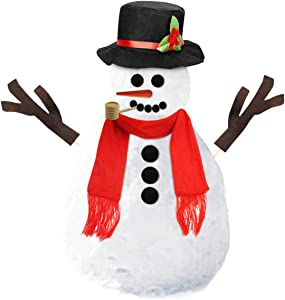 Leadrise 16Pcs Snowman Kit, Winter Outdoor Fun Toys for Kids Snowman Decorating Kit Includes Hat Scarf Nose Pipe Eyes Mouth and Buttons Christmas Holiday Decoration Gift