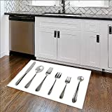 Rug Easy to Clean, Durable steel metal table cutlery isolated over white background Rug for Kitchens W36'' x H20''