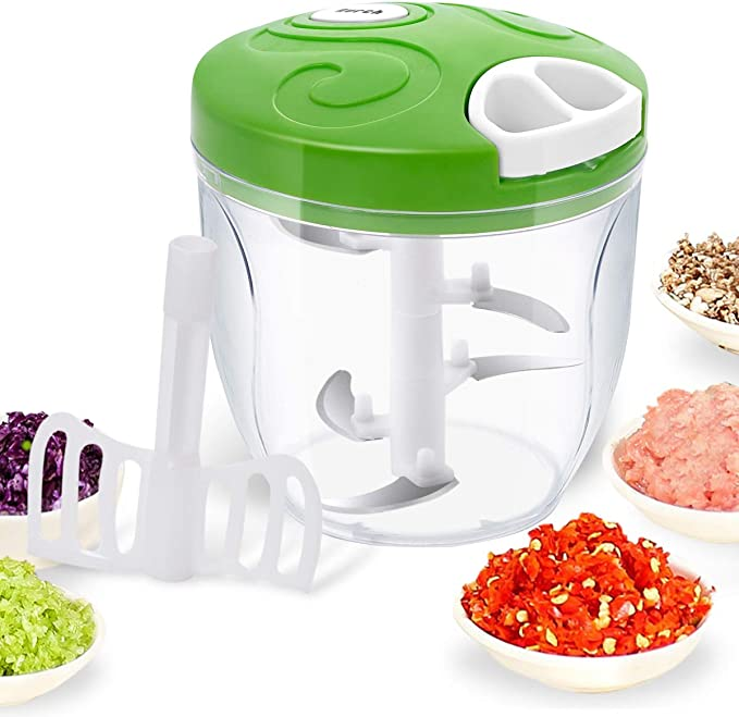 Manual Food Chopper, Easy Hand Pull Pro Onion Chopper, Large Capacity Handheld String Food Processor/Mixer/Blender for Veggie, Garlic, Meat, Salsa Maker
