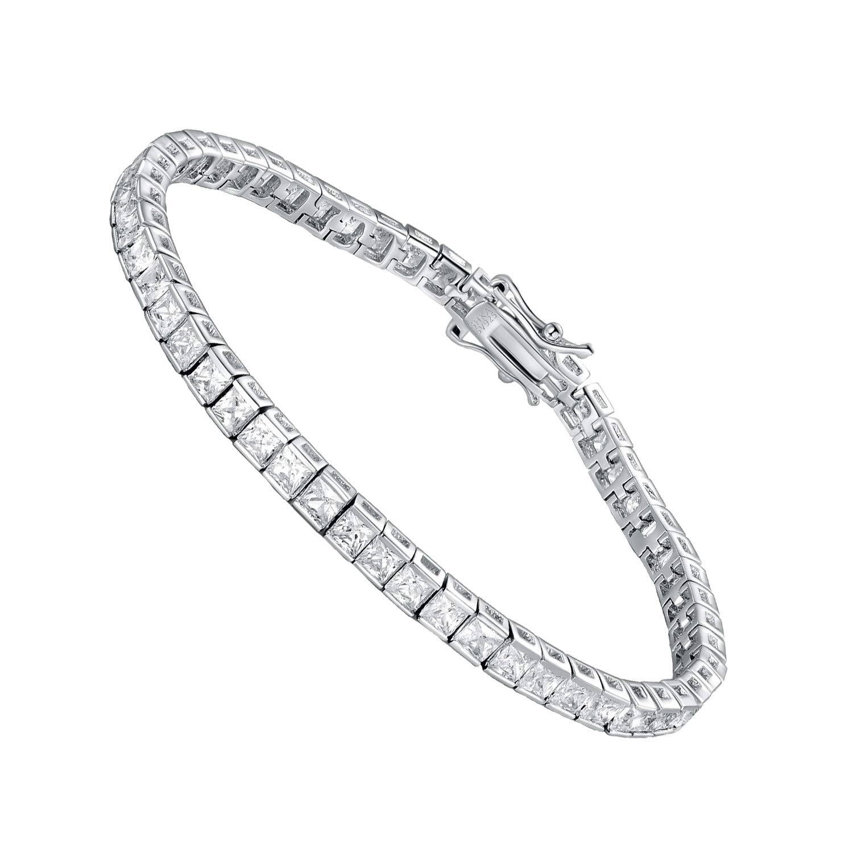 SHKA 925 Sterling Silver Princess Square Cut Tennis Bracelet 18K Women's Bracelet CZ Bracelets Bridal Bracelet with 3x3mm Sparking Cubic Zirconia Stone by SHKA